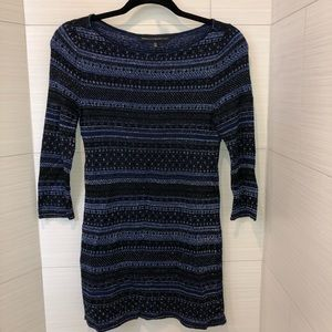 VGUC xs WHBM blue, black and silver tunic sweater